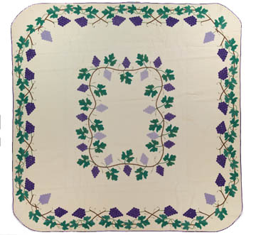 Grape Quilt, Made by Grace McCance Snyder, Late 1940s, 95 x 95 in