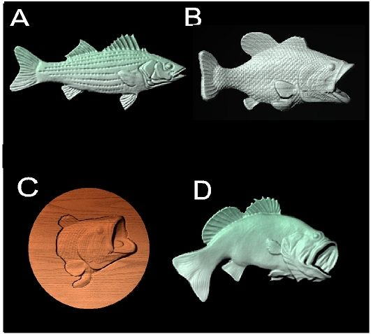 M22995 - Carved 3D Wood Appliques for Fish (Largemouthed Bass, Trout)