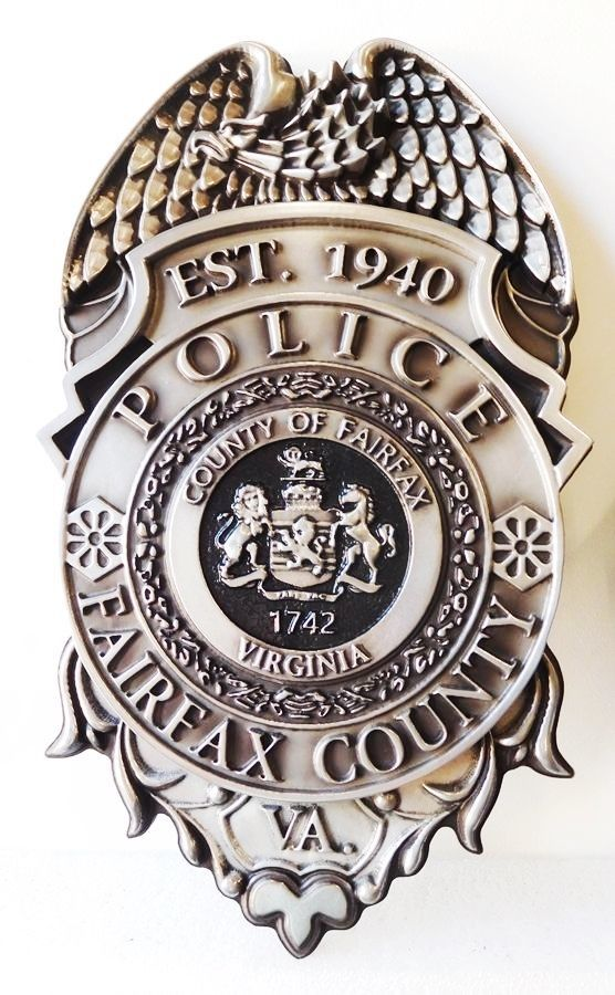 PP-1100 - Carved Wall Plaque of the Police  Badge of  Fairfax County, Virginia, Aluminum Plated with Hand-Rubbed Black Paint