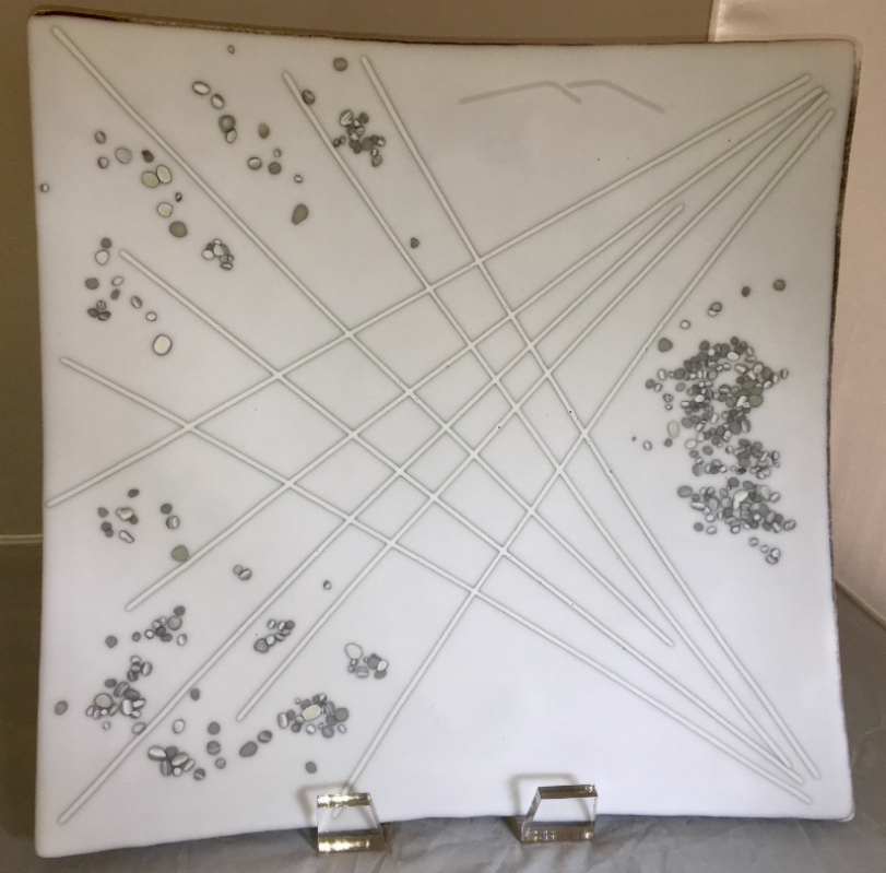 Fused Glass Platter French Vanilla and Dense White reactive glass