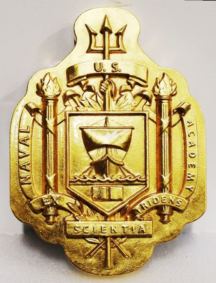 RP-1053 - Carved 3-D Bas-Relief Gold Painted Wall Plaque of the Seal/Crest of the US Naval Academy at Annapolis