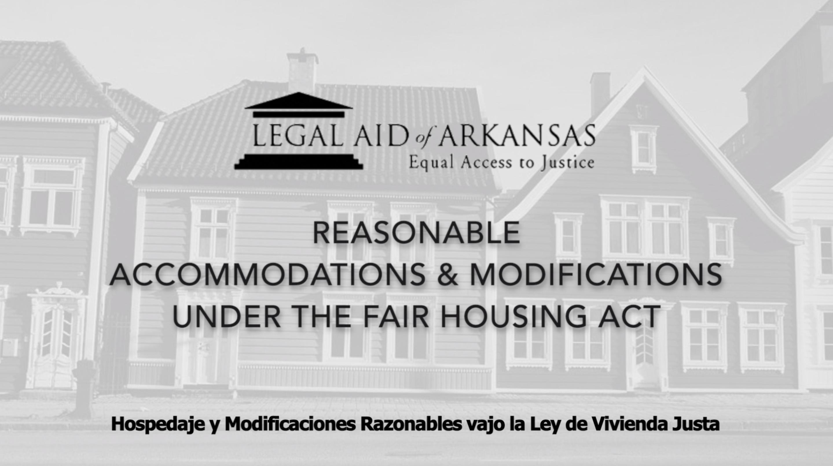 VIDEO - Hospedaje y Modificacioes Razonables bajo la Ley de Vivienda Justa