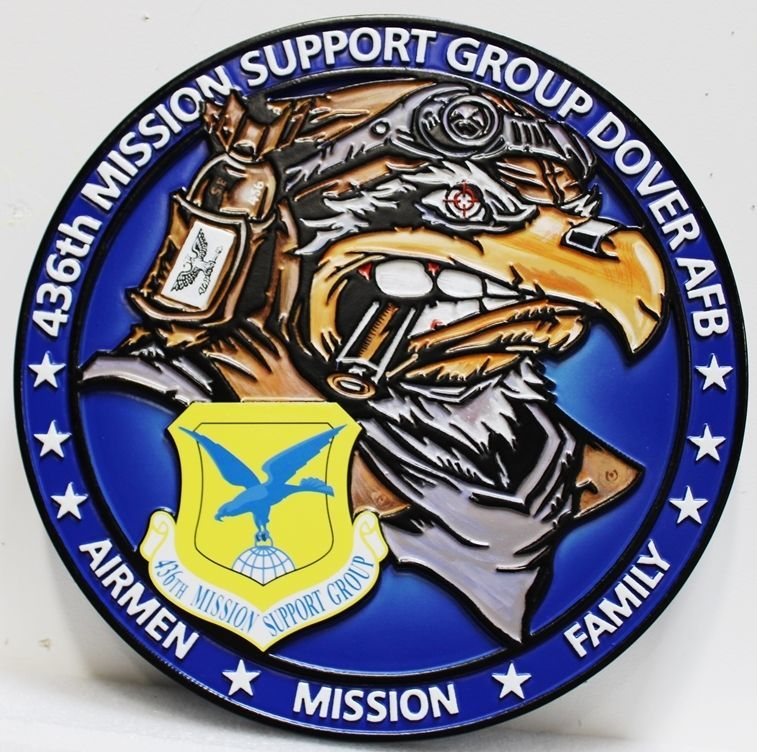 LP-4040  - Carved 2.5-D HDU Plaque of the Crest of the 436th Mission Support Group, Dover AFB , US Air Force