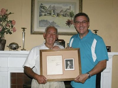 Summer 2010 - Dr. David Kahn presents a rare Napoleon letter to the National Cryptologic Museum Foundation.