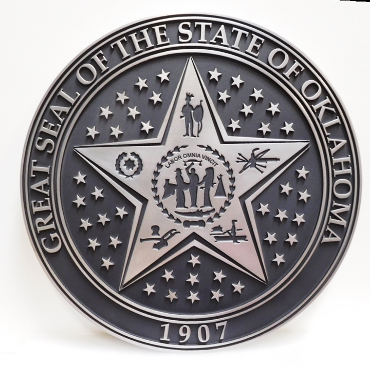 BP-1453 - Carved Wall Plaque of the Great Seal of  the State of Oklahoma, 2.5-D Raised and Engraved Relief, Plated with Aluminum Metal.