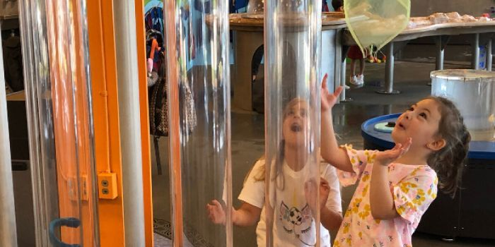 Photo of father and child playing with a bubble ring at DuPage Children's Musuem