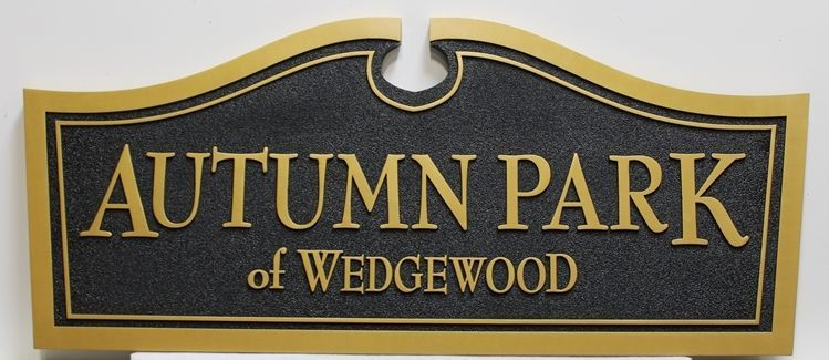 "K20412 - Carved High-Density-Urethane (HDU) Entrance Sign for the ""Autumn Park of Wedgwood"" Residential Community"