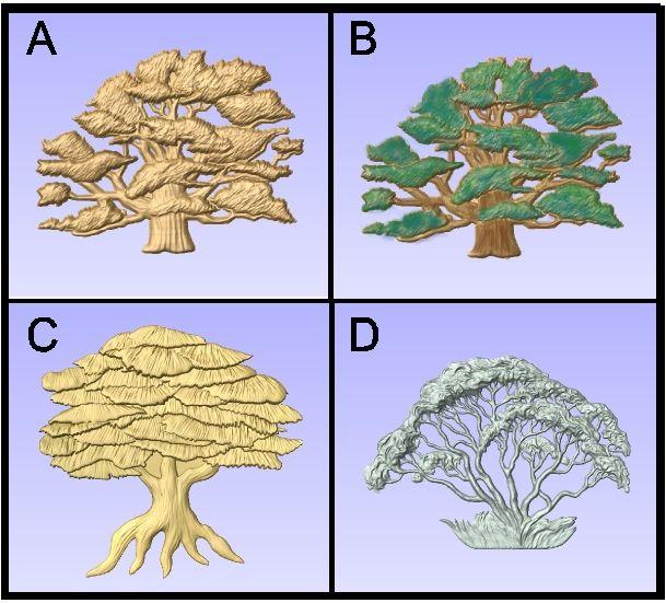 M22970 - Carved Wood Broadleaf Deciduous Trees