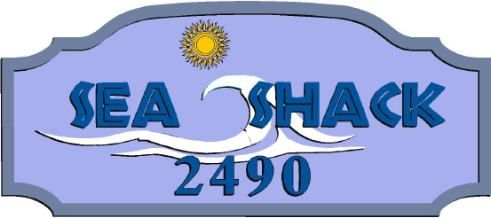 "L21168 - Design of a Sign for ""Sea Shack"" with Sun and Stylized Wave"