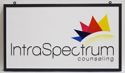 SA28834 -  Carved 2,5D HDU Sign made for the IntroSpectrum Counseling, with Logo as Artwork