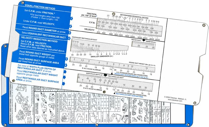 Air Duct Slide Rule Calculator