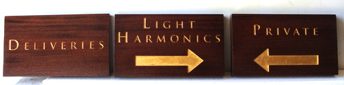 SA28503 - Three Directional Engraved Cedar Wood Signs with 24K Golf Leaf for Business, Directional Signs for Deliveries and Private Entrance