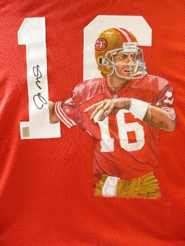 "Joe Montana, acrylic on full-sized jersey , 14"" x 10"""
