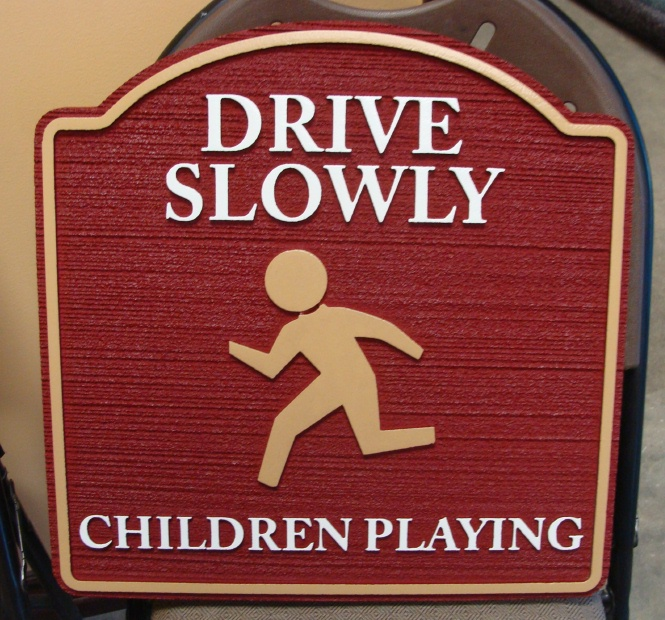 H17223 - Children Playing Wooden Traffic Sign