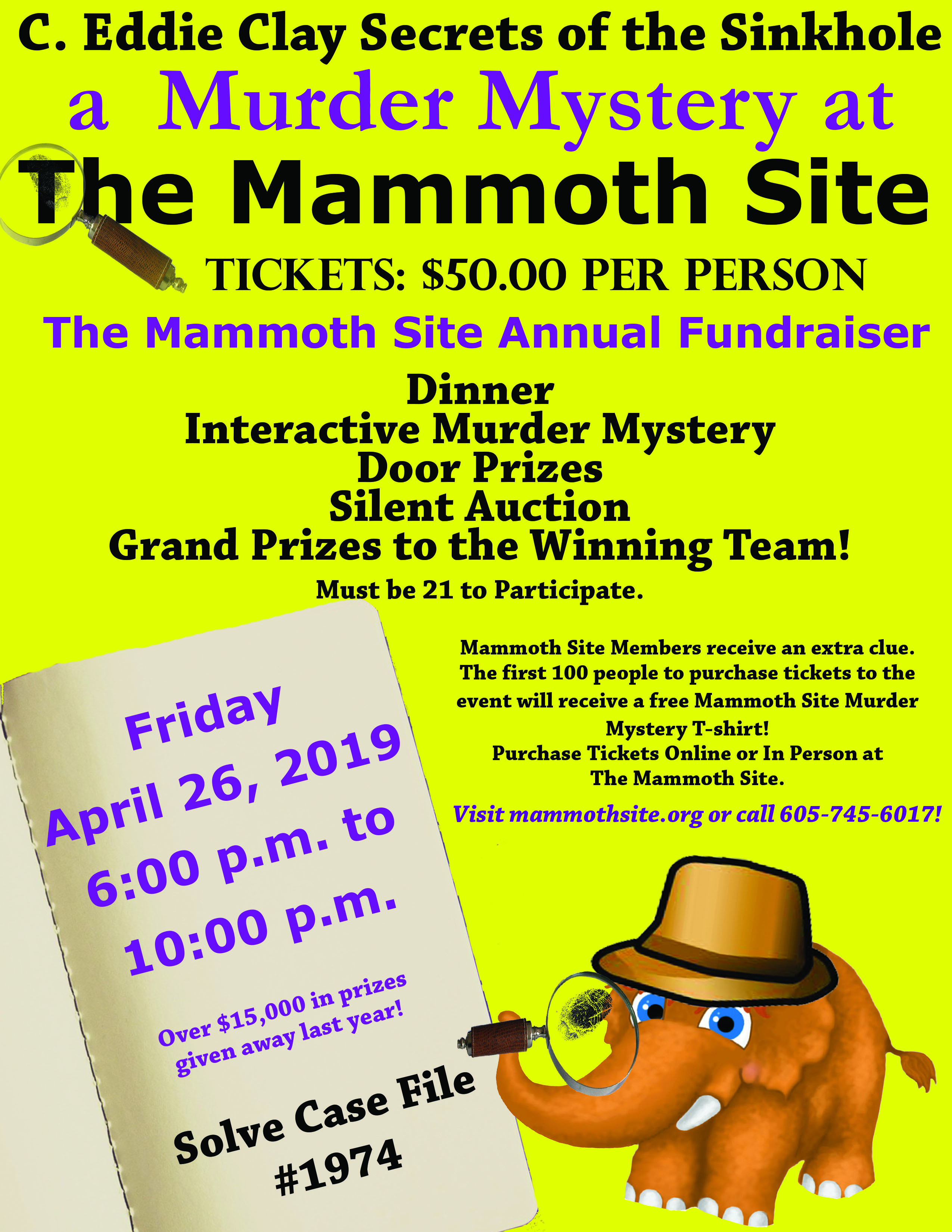"""Eddie Clay Legacy """"Secrets of the Sinkhole"""" Murder Mystery at  The Mammoth Site"""