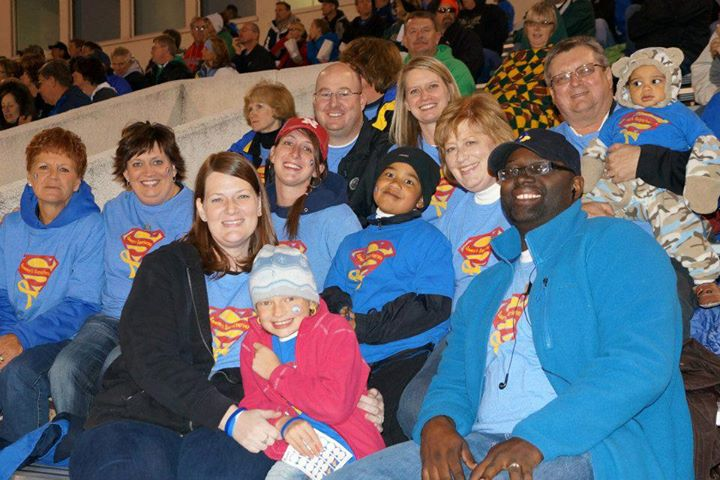 Sammy's Grandparents, aunts, uncles, and cousins at Scotus' Blue Out game
