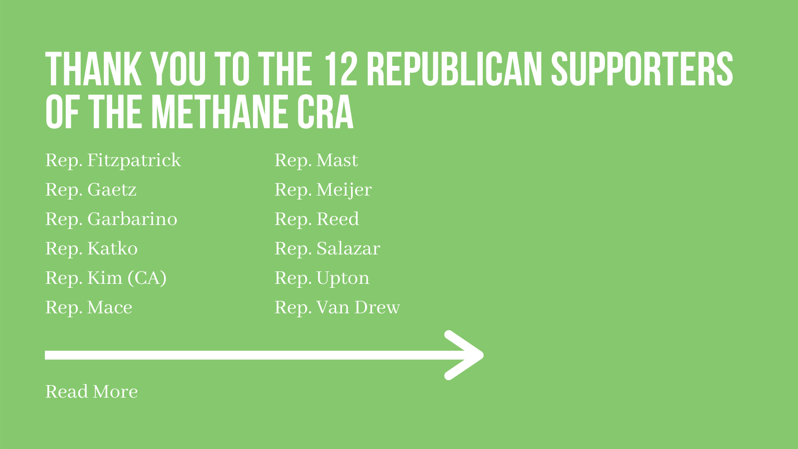 EEN Thanks Cosponsors of the Methane Congressional Review Act