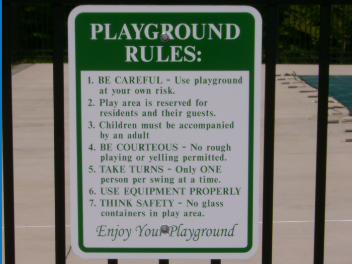 Playground Rules Community Sign