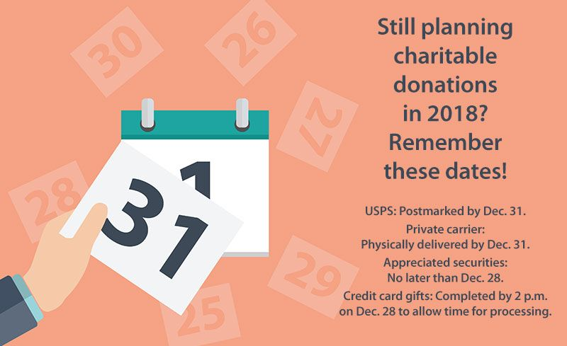 Still Planning Charitable Donations This Year? Remember These Dates!