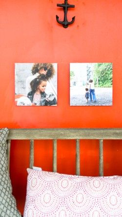 Photo Squares hang easily with adhesive squares