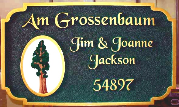 "M22072 -Carved and Sandblasted HDU Address Sign ""Am Grossenbaum"", with California Giant Sequoia Tree"