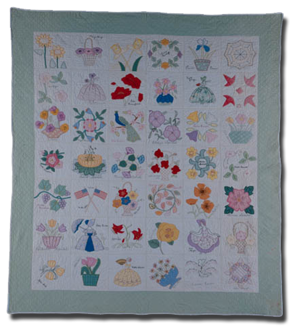 Applique Album, made by Ivy Speidel and members of the Arbor Kensington club, made in Arbor, Nebraska, United States, dated 1935, 87 x 78 in, NQP 4915