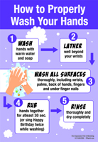 "12"" 18"" How to Properly Wash Your Hands Laminated Posters Purple Design"