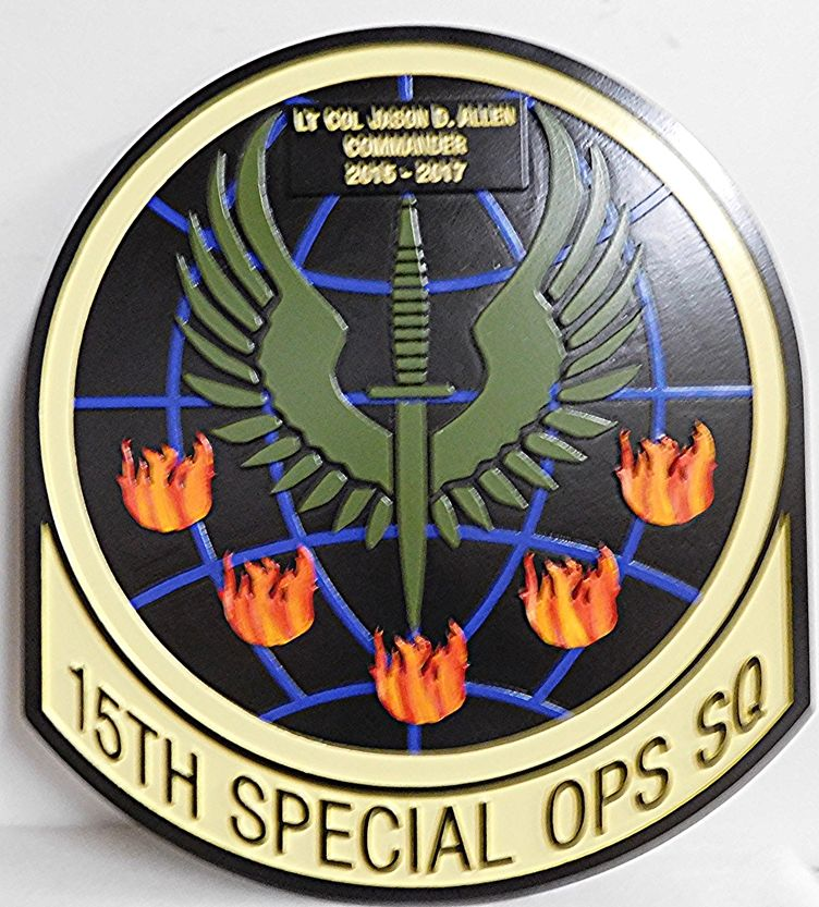 V31789A - Carved 2.5-D Wall Plaque Featuring the Crest of the US Army  15th Special Ops Squad , Featuring a Phoenix and Fires