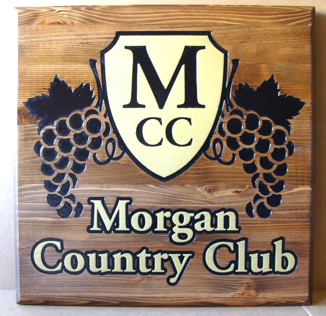 R27038 - Stained Engraved Cedar Country Club Entrance Sign with Grape Cluster Logo