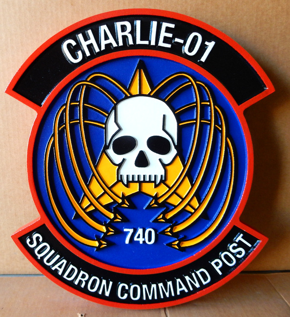 LP-4180- Carved Round Plaque of the Crest of the 740th Charlie-01 Squadron Command Post, Artist Painted