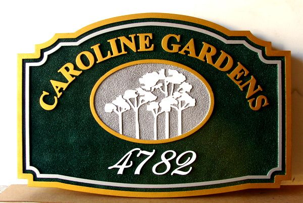 GA16455 - Carved HDU, Street Number Sign for Caroline Gardens; Metallic Gold Text and Borders