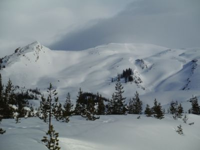 Winter climbing route of Mount St. Helens covered in snow