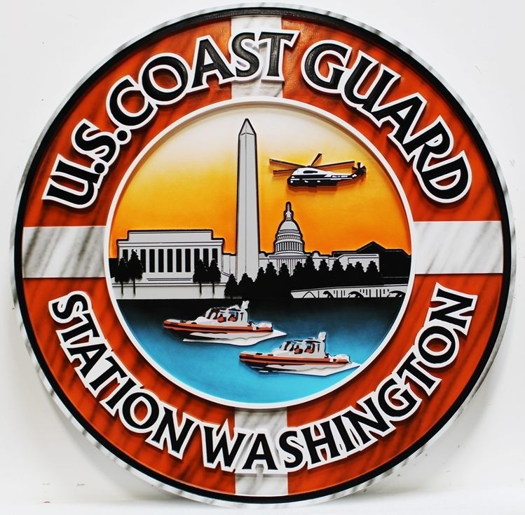 NP-2251 - Carved 2.5-D PHDU Plaque of the Crest of the US Coast Guard Station Washington