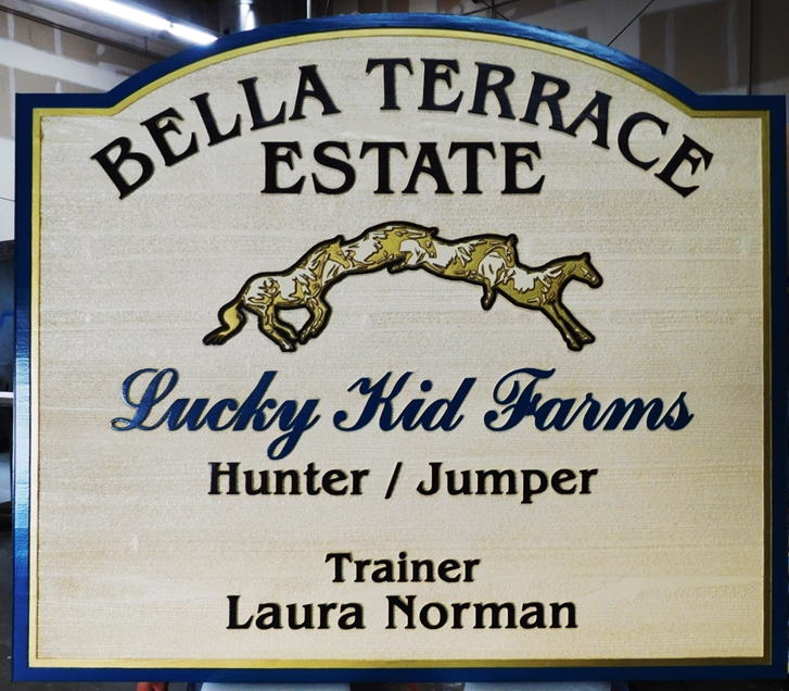 "P25236 - Carved and Sandblasted Entrance Sign for the ""Bella Terrace Estate""  with a Horse Jumping over a Fence as Artwork"