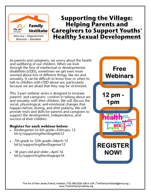 Webinar: Part 3 - Supporting the Village: Helping Parents and Caregivers to Support Youths' Healthy Sexual Development (Adulthood 18+)