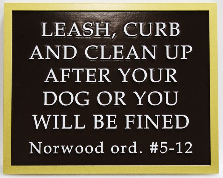 GA16602 - Carved 2.5D High-Density-Urethane (HDU)   Dog Rules Park Sign
