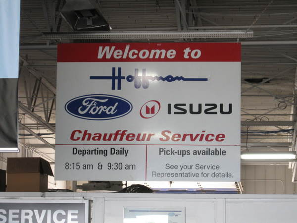 Custom Interior Aluminum Banner Sign for Auto Dealer Service Dept.