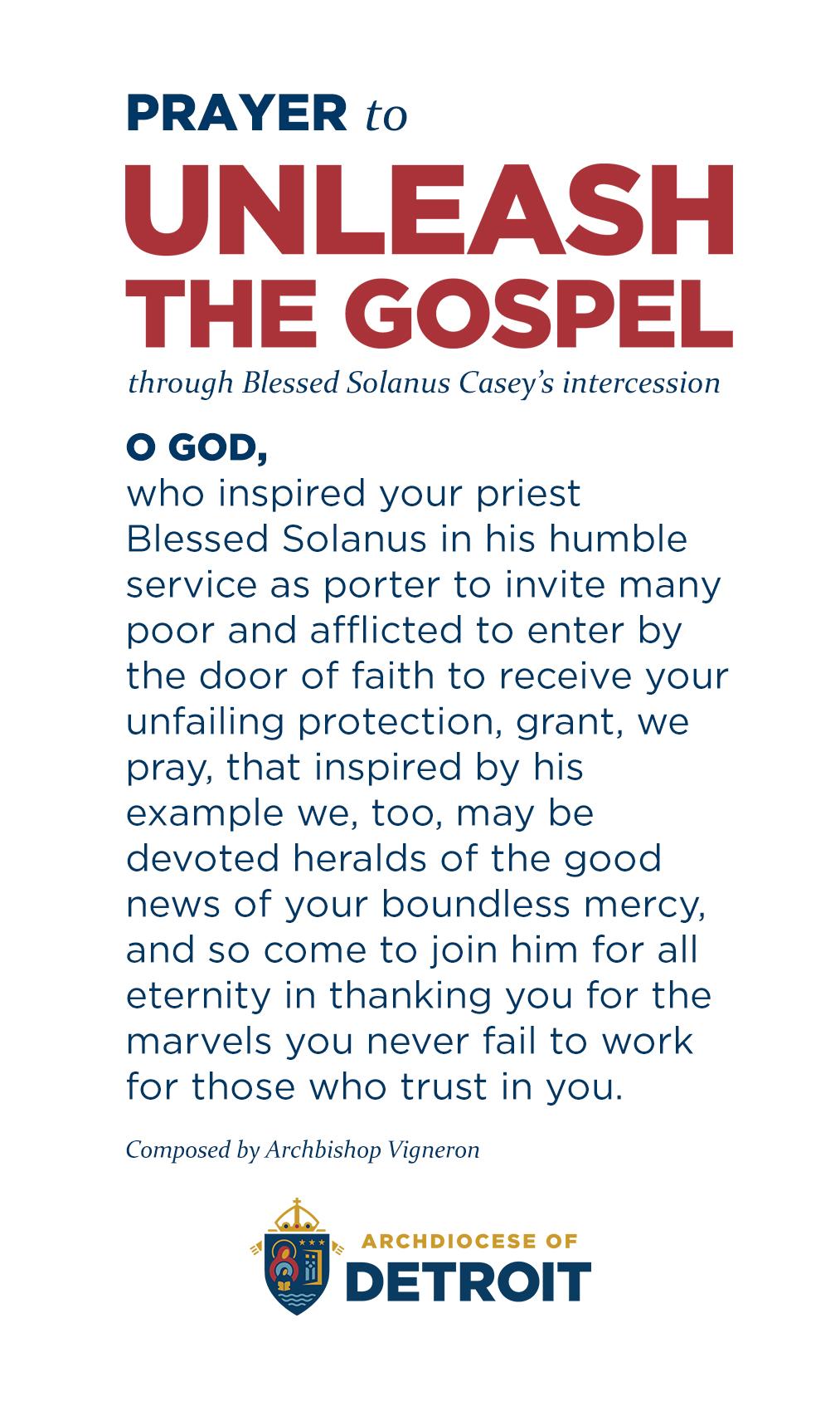 Prayer to Unleash the Gospel through the intercession of Solanus Casey