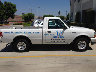 Auto dealership part truck vinyl lettering Buena Park