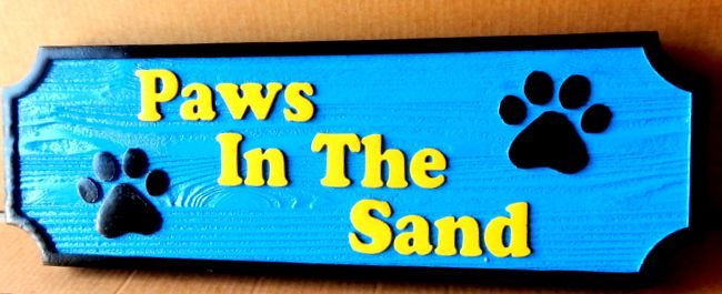 "L21092 - Painted Wood Sign ""Paws in the Sand"" with Dog Paw Prints"