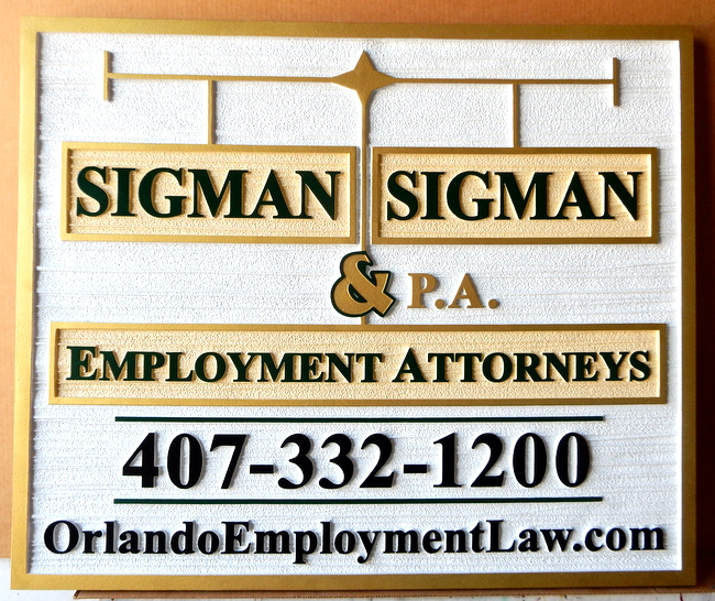 A10039 - Carved and Sandblasted High-Density-Urethane (HDU)  Law Office Sign