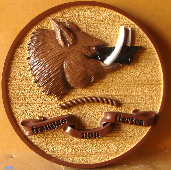 M2047 - Wall Plaque with Carved 3-D Wild Boar's Head and Ribbon (Gallery 21)