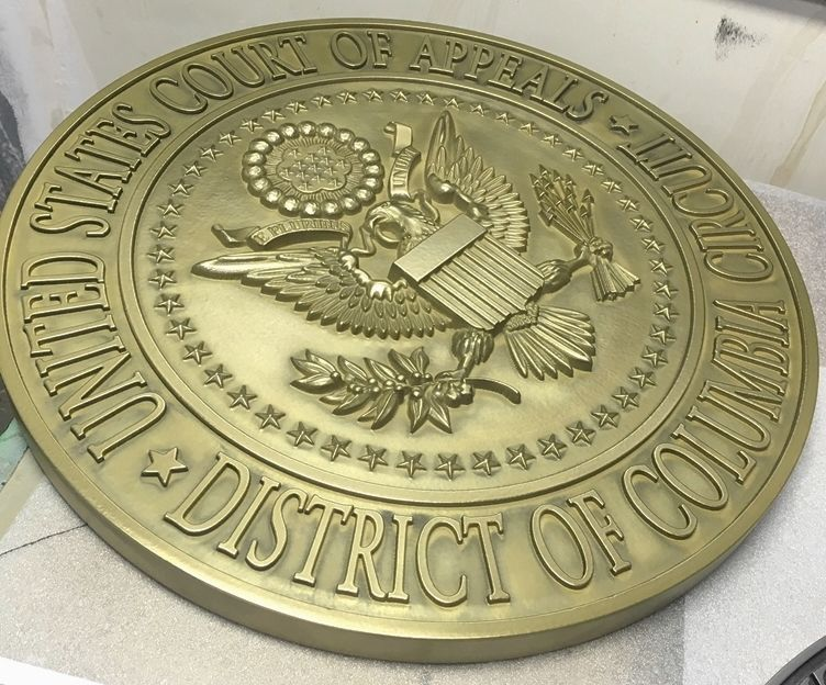 FP-1070  - Carved Plaque of the  Seal  of the US Court of Appeals, District of Columbia  Circuit, Brass Plated