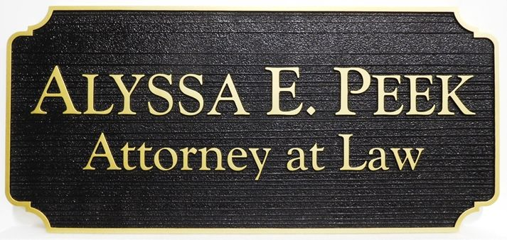 "A10496 - Carved and Sandblasted Wood Grain  Sign for ""Alyssa E. Peek, Attorney-at-Law"""