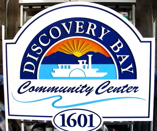 "K20128- Carved, Sandblasted HDU ""Discovery Bay Community Center"" Sign with Paddlewheel Steamer and Mountains"