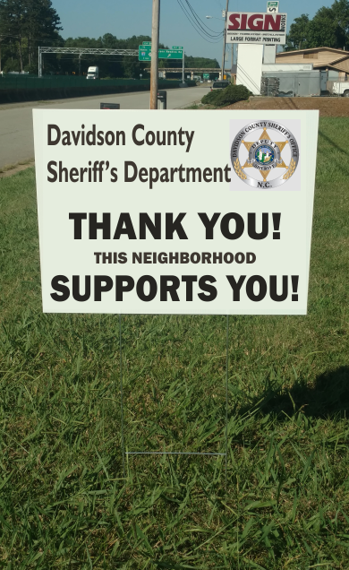Davidson County Sheriff Support Signs w/stepstake