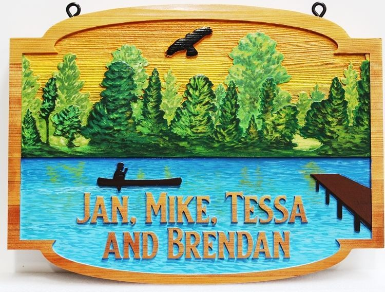"M22364 - Carved  2.5-D Multi-level Relief Western Red Cedar  Lake House  Name Sign ""Jan, Mike, Tessa, and Brendan"", with  a Lake, Dock, Canoe and Forest as Artwork."