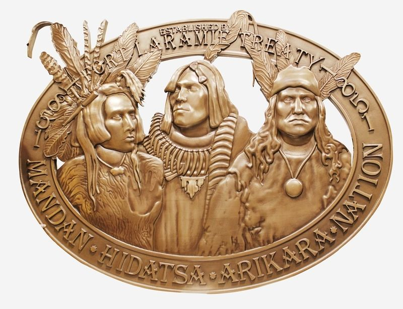 O24351 - Large Bronze-Plated Plaque Carved in 3-D Bas-relief ,  Commemorating the Ft. Laramie Treaty of 1851,  featuring  Images of Three  Native Americans of the Mandan, Hidatsa, and Arikara Nations