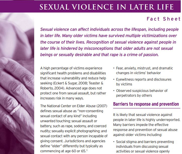 Fact Sheet: Sexual Violence in Later Life