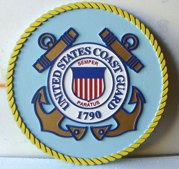 V31906 - US Coast Guard Seal Wooden Wall Plaque (Version 1 )